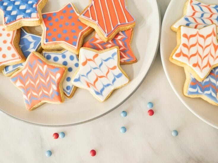 Decorated Red, White and Blue Star Cookies