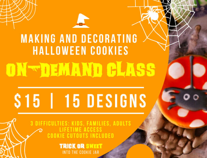 Trick or Sweet Halloween cookie decorating online class