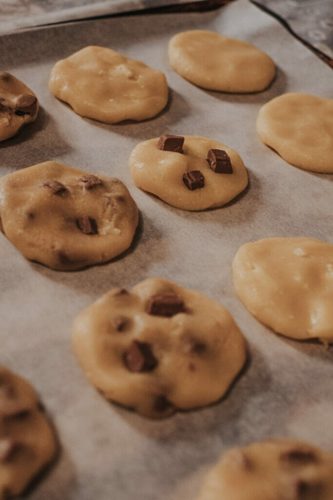 chocolate chip cookie dough on a tray