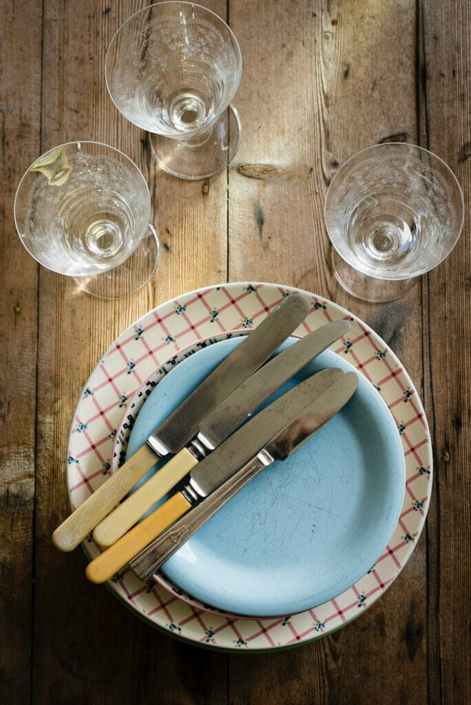 knifes on plate from above