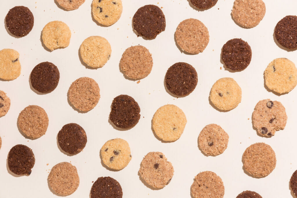 cookies lying flat and spaced out