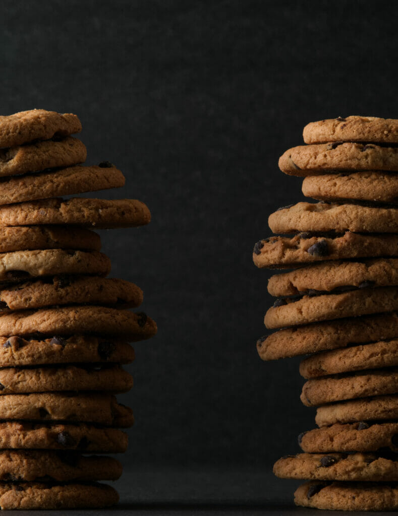 two stacks of cookies side by side