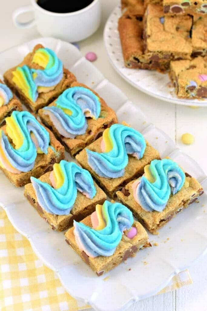 rainbow frosted cookie bars