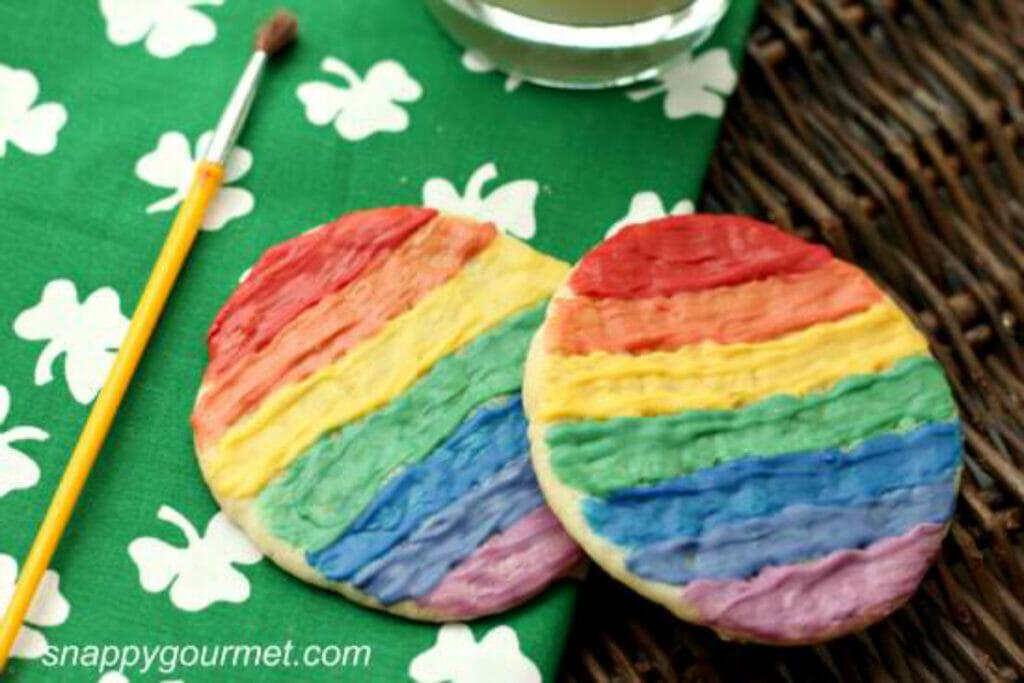 rainbow painted sugar cookies